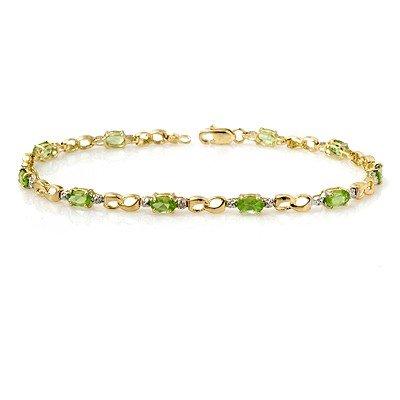Genuine 2.26 ctw Peridot & Diamond Bracelet Yellow Gold