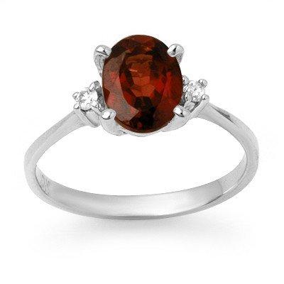 Genuine 1.54 ctw Garnet & Diamond Ring 10K White Gold