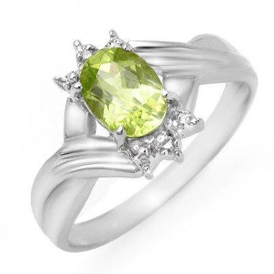 Genuine 1.04 ctw Peridot & Diamond Ring 10K White Gold