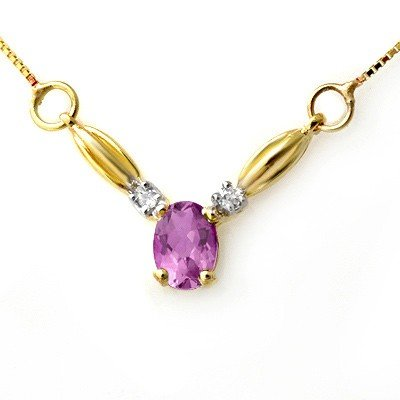 Genuine 1.30 ctw Amethyst & Diamond Necklace 10K Gold