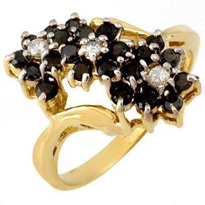 Natural 1.25 ctw Black Diamond Ring 10K Yellow Gold