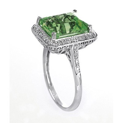 GENUINE 6.13 ctw DIAMOND and GREEN AMETHYST RING 14K WH