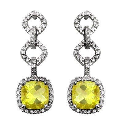 GENUINE 4.52 ctw DIAMOND and LEMON QUARTZ EARRINGS 14K