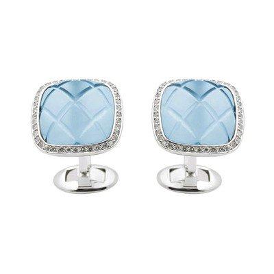 GENUINE 14.4 ctw DIAMOND and BLUE TOPAZ CUFFLINK 14K WH
