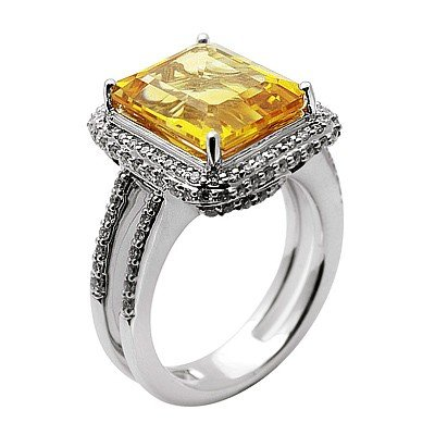 GENUINE 6.1 ctw DIAMOND and CITRINE RING 14K WHITE GOLD