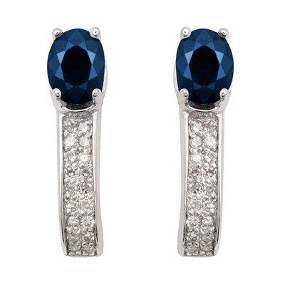 GENUINE 3.2 ctw DIAMOND and BLUE SAPPHIRE EARRINGS 14K