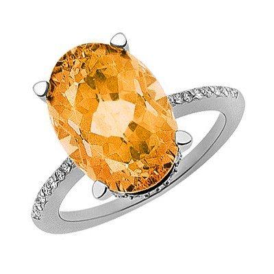 GENUINE 8.9 ctw DIAMOND and CITRINE RING 14K WHITE GOLD