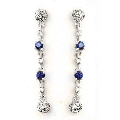 GENUINE 0.56 ctw DIAMOND and BLUE SAPPHIRE EARRINGS 14K