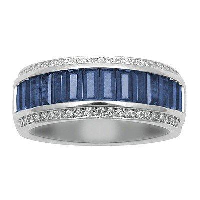 GENUINE 2.2 ctw DIAMOND and BLUE SAPPHIRE RING 14K WHIT