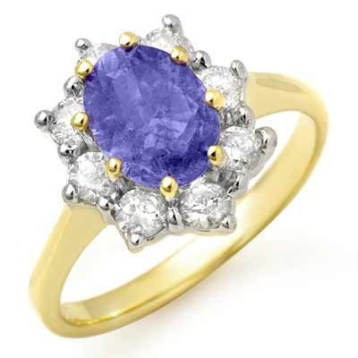 Genuine 2.75ctw Tanzanite & Diamond Ring 14K Yellow Gol