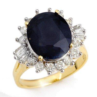 Genuine 8.99 ctw Sapphire & Diamond Ring 14K Yellow Gol