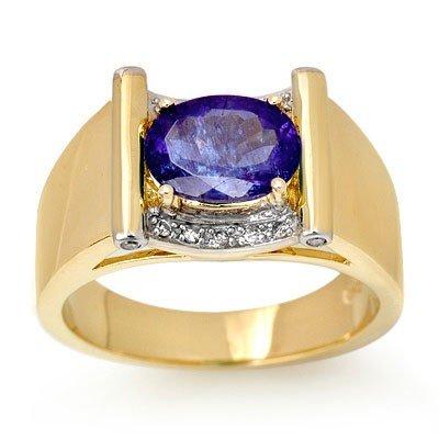 Genuine 2.18ctw Tanzanite & Diamond Men's Ring 10K Gold