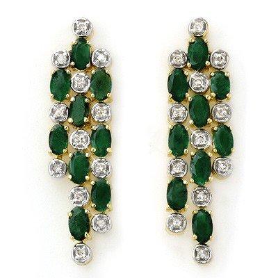 Genuine 4.03 ctw Emerald & Diamond Earrings Yellow Gold