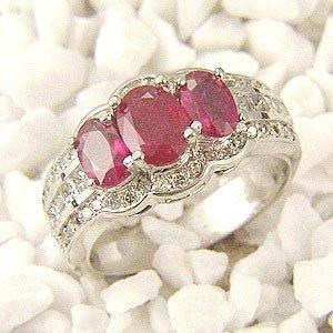 Genuine 3.5 ctw Ruby & Diamond Ring 14K White Gold