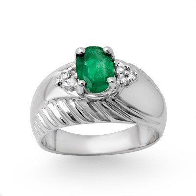 Genuine 1.62 ctw Emerald & Diamond Ring 10K White Gold