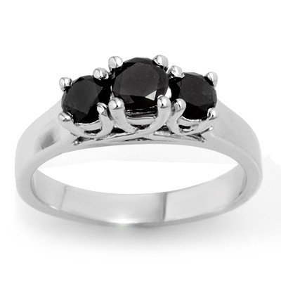 Natural 0.55 ctw Black Diamond Ring 14K White Gold