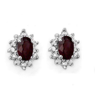 Genuine 0.61 ctw Ruby & Diamond Earrings Yellow Gold