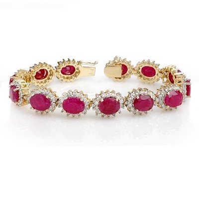 Genuine 42.12 ctw Ruby & Diamond Bracelet Yellow Gold