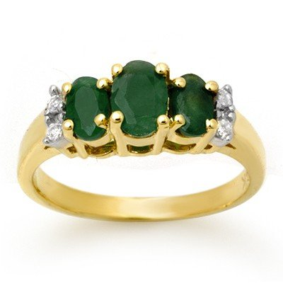 Genuine 1.08 ctw Emerald & Diamond Ring 14K Yellow Gold