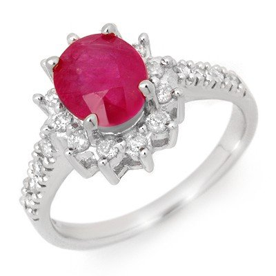 Genuine 3.05 ctw Ruby & Diamond Ring 14K White Gold