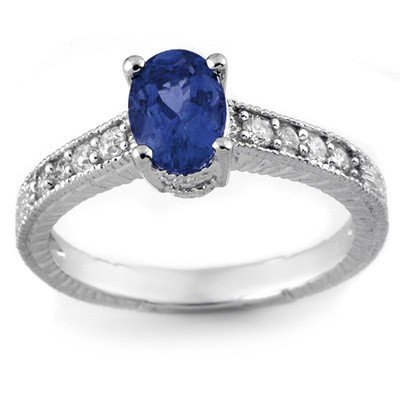 Genuine 1.02 ctw Blue Sapphire & Diamond Ring 14K White
