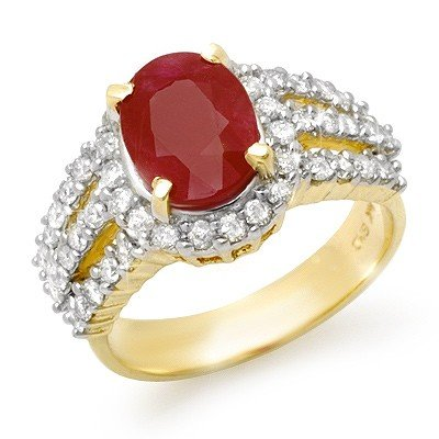 Genuine 4.55 ctw Ruby & Diamond Ring 14K Yellow Gold