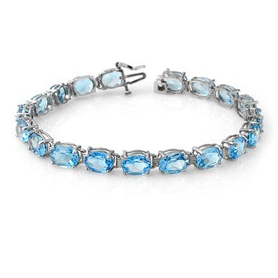 Genuine 30 ctw Blue Topaz Bracelet 10K White Gold