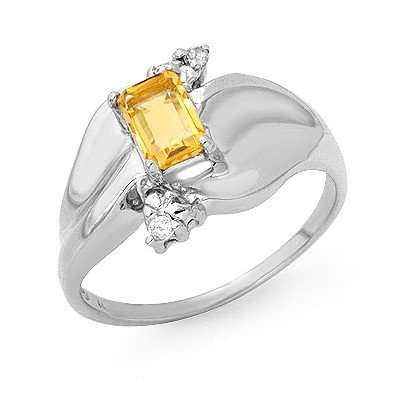 Genuine 0.72 ctw Citrine & Diamond Ring 10K White Gold