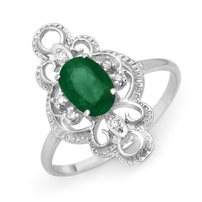 Genuine 0.71 ctw Emerald & Diamond Ring 10K White Gold