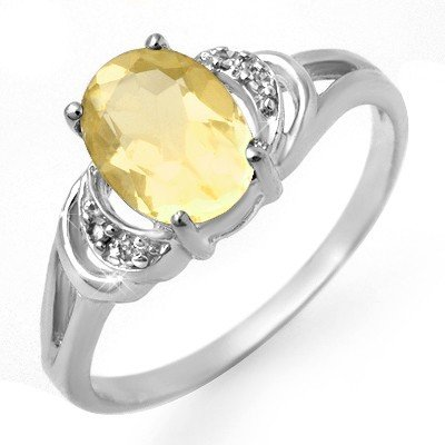 Genuine 1.03 ctw Citrine & Diamond Ring 10K White Gold