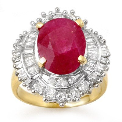 Genuine 6.15 ctw Ruby & Diamond Ring 14K Yellow Gold