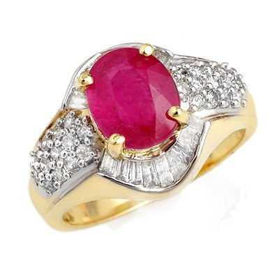 Genuine 3.0 ctw Ruby & Diamond Ring 14K Yellow Gold