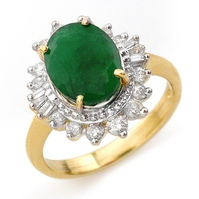 Genuine 4.85 ctw Emerald & Diamond Ring 14K Yellow Gold