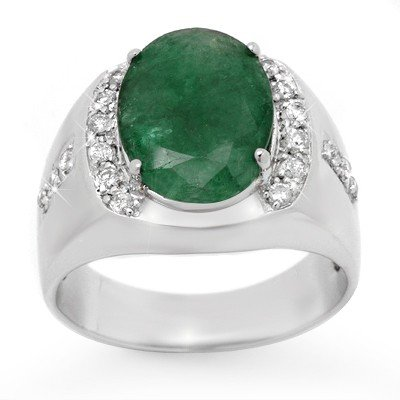 Genuine 6.33 ctw Emerald & Diamond Men's Ring 10K Gold