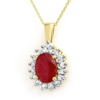 Genuine 3.7 ctw Ruby & Diamond Pendant Yellow Gold