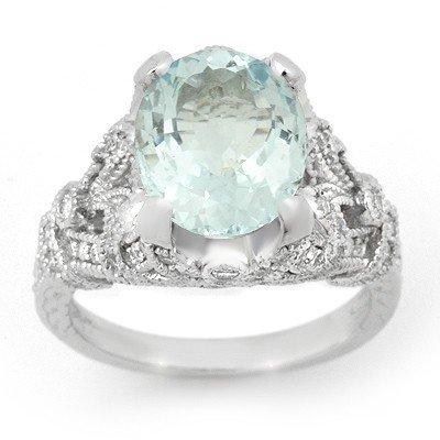 Genuine 6.10 ctw Aquamarine & Diamond Ring 14K Gold