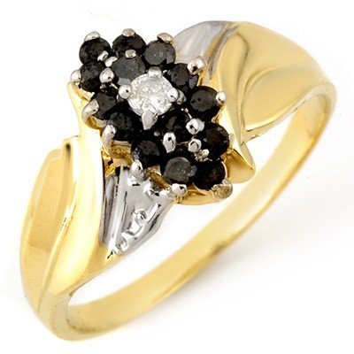 Natural 0.45 ctw White & Black Diamond Ring Yellow Gold