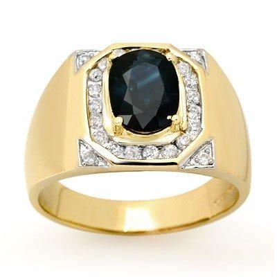 Genuine 3.1 ctw Sapphire & Diamond Men's Ring 14K Gold