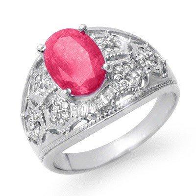 Genuine 3.07 ctw Ruby & Diamond Ring 14k Gold
