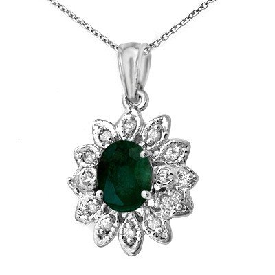 Genuine 1.55 ctw Emerald & Diamond Pendant White Gold