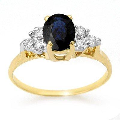 Genuine 1.41ctw Sapphire & Diamond Ring 14K Yellow Gold