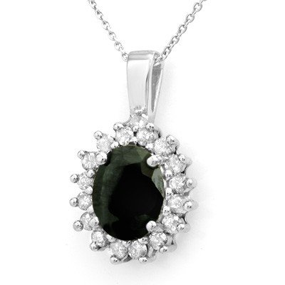 Genuine 3.69 ctw Sapphire & Diamond Pendant 14K Gold