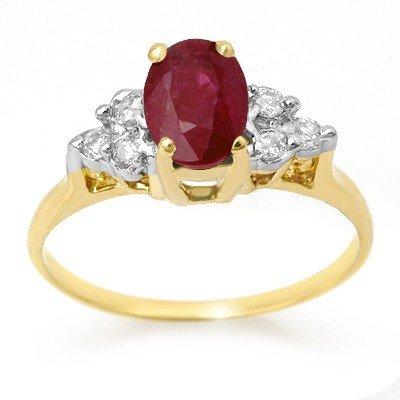 Genuine 1.35 ctw Ruby & Diamond Ring 14K Yellow Gold