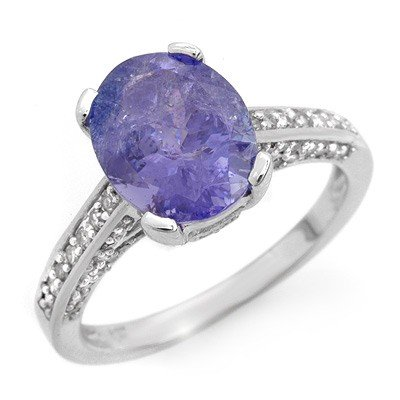 Genuine 4.5ct Tanzanite & Diamond Ring 14K White Gold