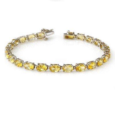 Genuine 12.18 ctw Citrine Bracelet 10K White Gold