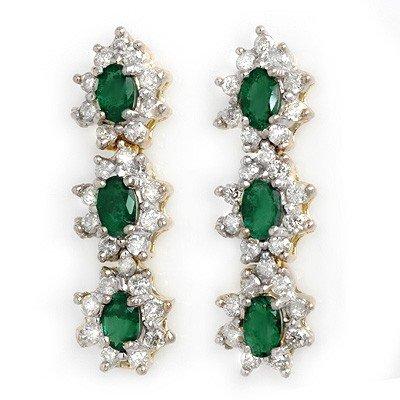 Genuine 2.52 ctw Emerald & Diamond Earrings Yellow Gold