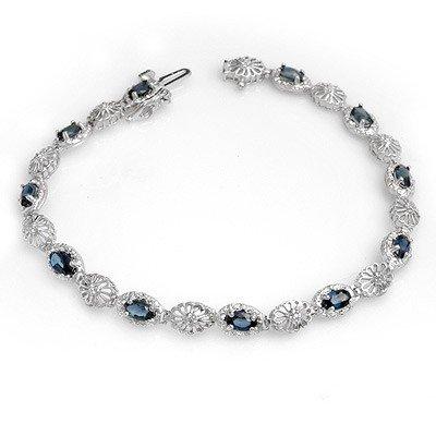 Genuine 4.82 ctw Sapphire & Diamond Bracelet 10K Gold
