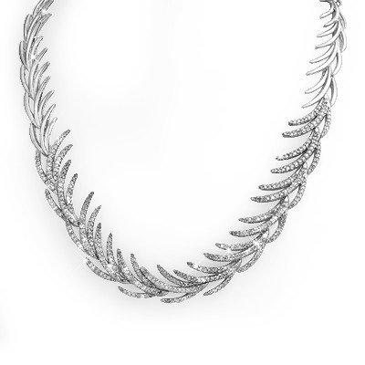 Natural 6.0 ctw Diamond Necklace 14K White Gold