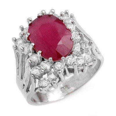 Genuine 4.62 ctw Ruby & Diamond Ring 14K White Gold