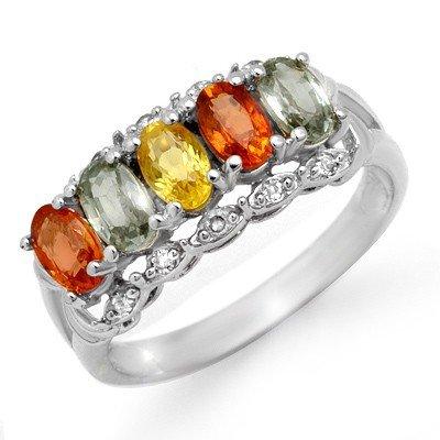 Genuine 2.0 ctw Multi-Sapphire & Diamond Ring 10K White